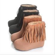 真皮流苏雪地靴内增高裸靴图片