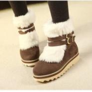 时尚毛毛领皮带扣雪地靴棉靴子图片