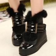 厚底松糕短靴内增高加绒雪地靴图片