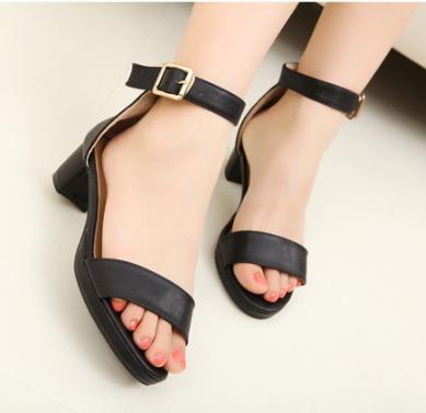 女鞋凉鞋图片|女鞋凉鞋样板图|粗跟一字扣带厚底中跟