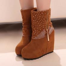 供应2012秋冬短靴新款欧美马丁靴高跟水钻短靴坡跟女靴子批发