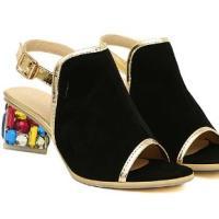 彩钻水晶中跟粗跟绒面女鞋凉鞋