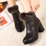 狐狸毛真木粗跟女靴翻边毛毛女鞋图片