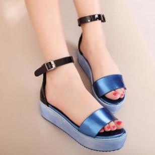 时尚休闲松糕鱼嘴坡跟凉鞋厚底鞋图片
