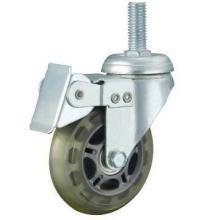 供应多规格丝杆万向轮带刹聚氨酯PU脚轮购物塑料车轮轻型工业批发
