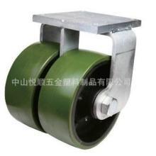供应重型双轮PU工业轮子万向轮铁芯PU脚轮批发
