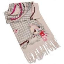 2012新款羊毛围巾披肩批发恒源祥围巾正品精仿印花金线格子粉色批发