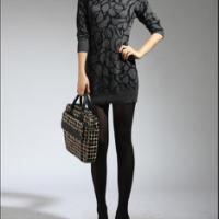 秋冬韩版女式堆堆领中长款毛衣