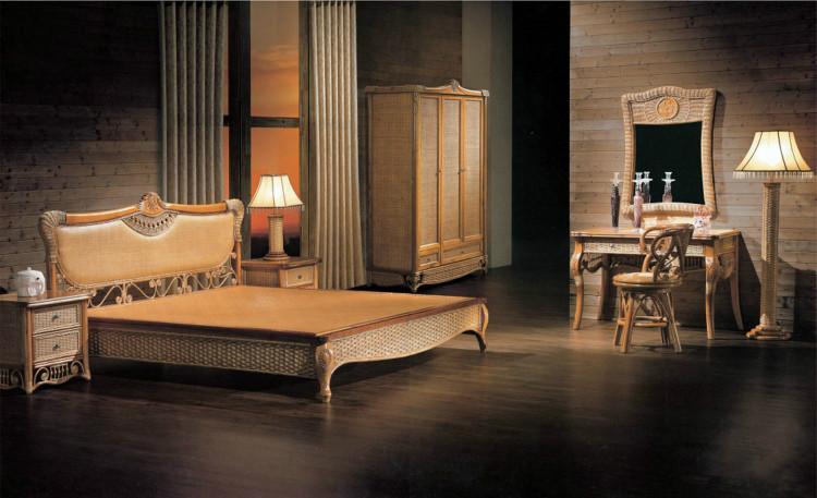 酒店定制编藤双人床销售