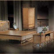 实木双人床卧室组合图片