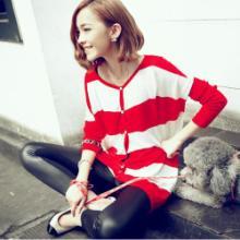 2012秋冬新款 韩版潮流混搭杂志款 宽条纹开衫 针织衫
