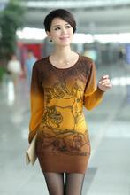 2013女装新款韩版毛衣中长款长袖打底毛衣裙印花羊毛衫打底衫批发