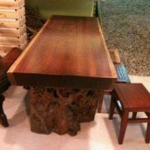 供应非洲菠萝格大板原木书桌老板台画案写字红木家具花梨木批发