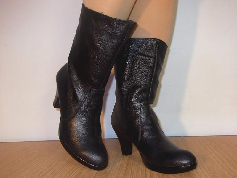 短靴供应商/生产供应新款冬女鞋职业ol高跟真皮圆头
