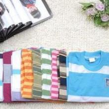 义乌批发网儿童T恤批发韩版卡通印花纯棉彩条圆领短袖t恤图片