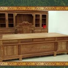 东阳木雕 极品缅甸花梨木山水书桌椅 书柜组合 实木书桌 红木家具