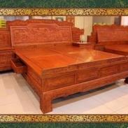 特价220290实木床 大山水非洲花梨木双人床 床头柜 东阳红木家