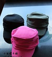 供应新款韩版全棉褶皱平顶军帽