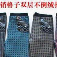 新款双层加厚不倒绒格子裤图片