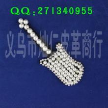 义乌厂家供应EPA0242吉他型珍珠衣饰胸花,胸花手工花批发