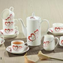 供应心心相印15头骨瓷咖啡具套装