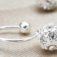 925纯银镶锆石钻石耳钉批发图片