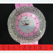 供应水钻石英表硅胶表带流行的时装表硅胶手表女表图片
