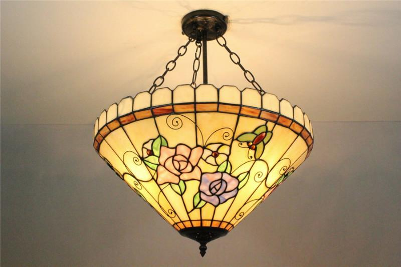 欧式客厅玻璃tiffanylamp品牌吊灯图片大全