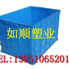 供应收餐筐餐具收纳带盖蓝色周转箱批发