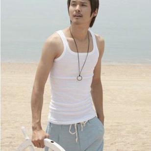 韩版22罗纹男式方领健美背心图片