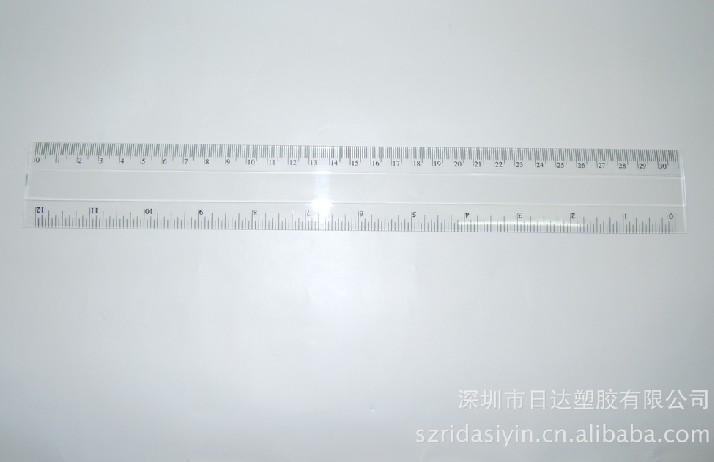 深圳厂家供应 30cm双斜边透明直尺 可加印不同图案LOGO