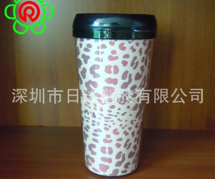 供应豹纹双层塑料广告杯 防烫保温杯 礼品促销广告杯