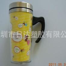 生产450ml卡纸可换内钢外塑汽车杯 隔热汽车杯批发
