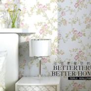 无纺布田园卧室小藤花壁纸客厅墙纸图片