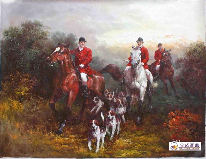 油画 万光府/供应烟台打猎油画油画围猎油画油画奔马猎狗 西洋骑士图片
