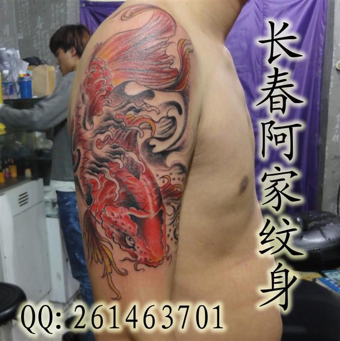 纹身 纹身供应商 供应胳膊鱼纹身,鱼纹身,招财 高清图片