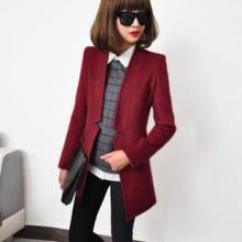 供应春季新款韩中长款修身西装羊毛大衣女装外套批发