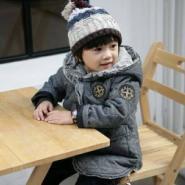 韩版男童中长款冬装加厚徽章呢大衣图片