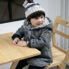 韩版男童中长款冬装加厚徽章呢大衣儿童保暖宝宝加绒棉衣童装外套批发