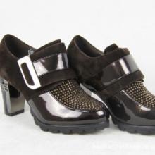 好好佳水钻单鞋韩国魔术贴高跟鞋粗跟复古女鞋批发