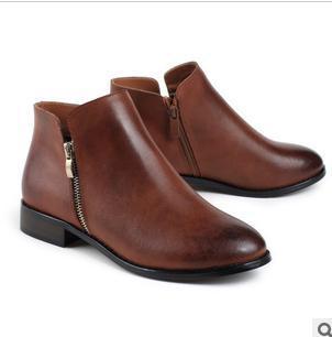 欧美 英伦/供应英伦复古侧拉链欧美低跟裸靴图片