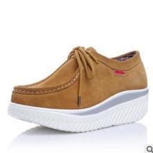 供应坡跟平底瘦身减肥鞋松糕牛皮鞋