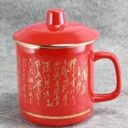 湖南醴陵中国红瓷茶水杯将军杯厚款图片