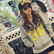 韩版女装连帽拼色长袖情侣卫衣外套图片