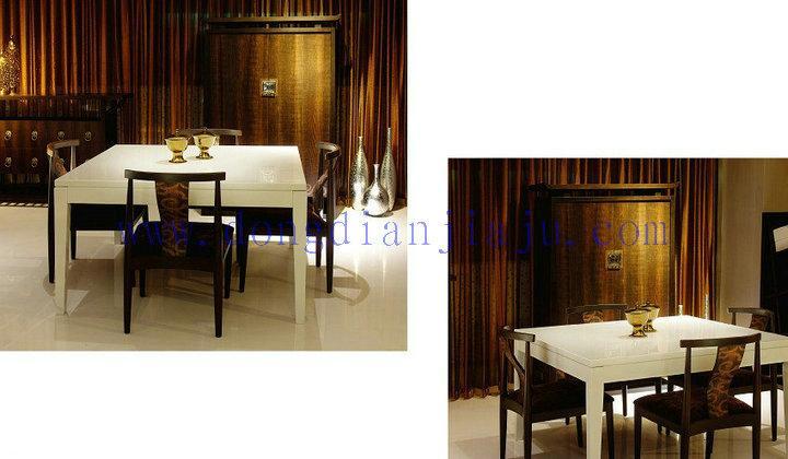定制新中式餐台,8人位圆餐台,大理石餐台,餐厅家具