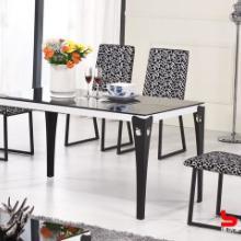 供应个性欧式宜家风格餐桌餐椅组合黑白色布艺皮现代餐椅时尚简约批发