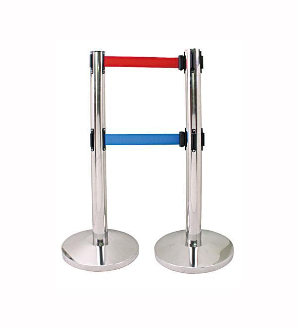 供应双层伸缩带栏杆座/警戒线