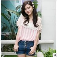热卖夏季新款蕾丝花边直条纹雪纺衫图片