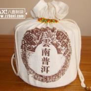 信阳毛尖茶叶袋定做棉布束口茶袋图片
