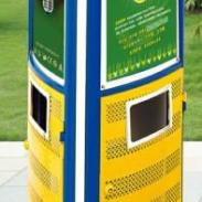 供应三角户外垃圾桶 双面广告分类环保垃圾桶